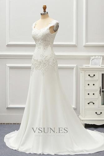 Vestido de novia Gasa Cordón Capa de encaje Natural Escote Cuadrado - Página 3