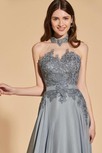 Vestido de fiesta Elegante Capa de encaje Escote con cuello Alto Corte-A - Página 5