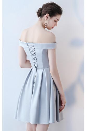 Vestido de dama de honor Cordón primavera Satén Un sólo hombro Sin mangas Bordado - Página 12
