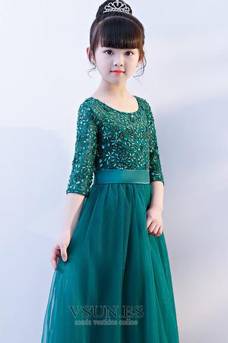 Vestido niña ceremonia Corte-A Natural Manga de longitud 3/4 tul Joya Camiseta - Página 4