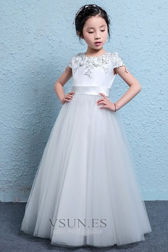 73143473c Vestido niña ceremonia Corte-A Flores Manga corta Falta Verano ...