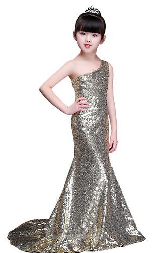 Vestido niña ceremonia Natural Falta Con lentejuelas Corte Sirena Verano Un sólo hombro - Página 4