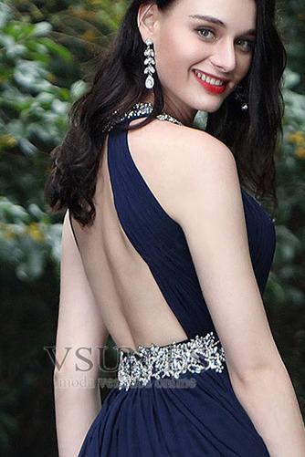 Vestido de fiesta Sin mangas Blusa plisada Escote con cuello Alto Corte-A - Página 3