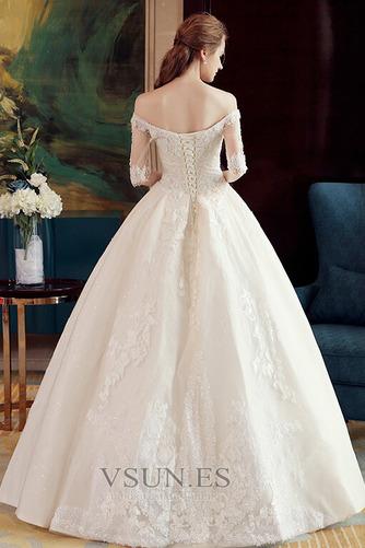 Vestido de novia Elegante Recatada Hasta el suelo Escote con Hombros caídos - Página 2
