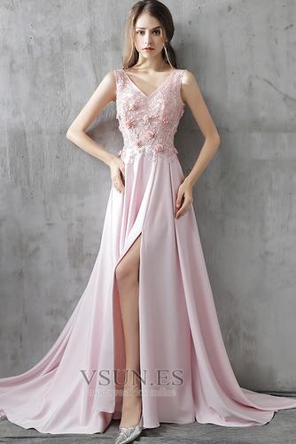 Vestido de fiesta Corte-A Frontal Dividida Rosetón Acentuado Formal Satén - Página 1
