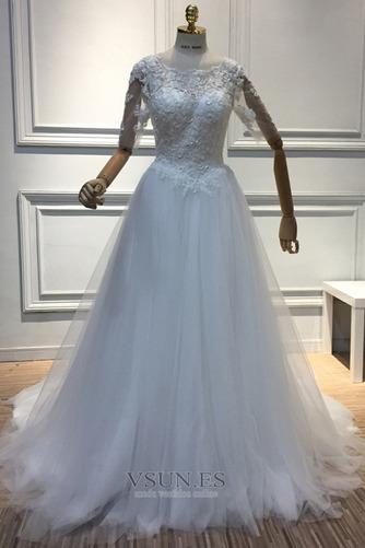 Vestido de novia Capa de encaje Sala Cremallera tul Mangas Illusion - Página 4
