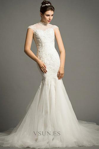 Vestido de novia Apliques Cola Corte Formal Cremallera Corpiño Acentuado con Perla - Página 3