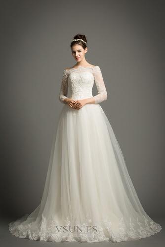 Vestido de novia Elegante Encaje Abalorio Pera Cremallera Corte-A - Página 1