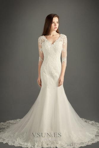 Vestido de novia Iglesia Corte-A Otoño Cremallera largo tul - Página 1