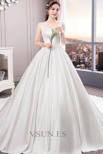 Vestido de novia Cola Real Drapeado Satén Iglesia Cordón Triángulo Invertido - Página 3