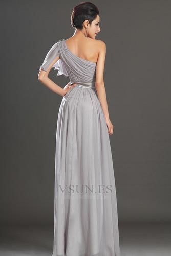 Vestido de noche Elegante Verano Drapeado Hasta el suelo Corte-A Gasa - Página 6