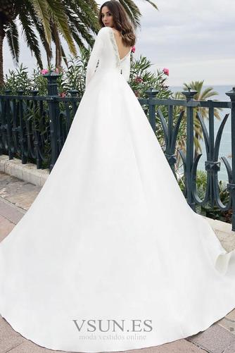 Vestido de novia Manga larga Barco Pera Satén Camiseta Cola Corte - Página 2