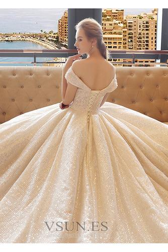 Vestido de novia Colores Iglesia Estrellado Con lentejuelas Otoño Escote con Hombros caídos - Página 5