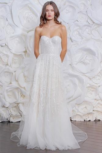 Vestido de novia Sencillo Playa Cremallera Corte-A Natural Apliques - Página 1