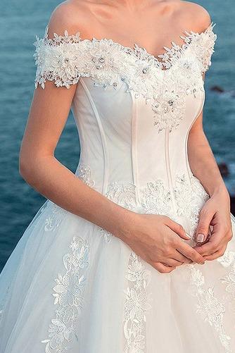 Vestido de novia largo tul primavera Bola Cordón Escote con Hombros caídos - Página 2