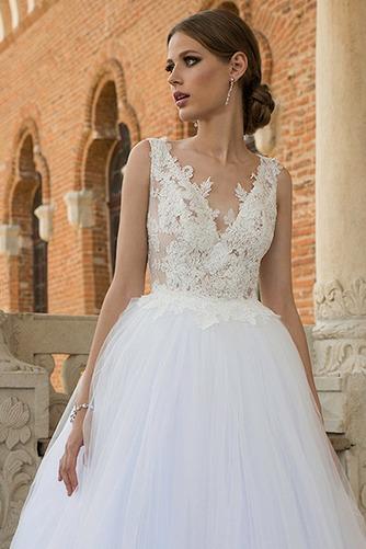 Vestido de novia Natural Encaje Espalda medio descubierto Playa Apliques - Página 3