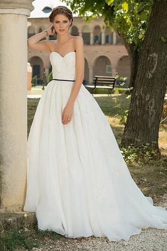 Vestido de novia Sencillo Sin mangas primavera Cola Capilla Corte-A - Página 1