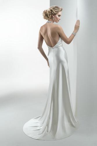 Vestido de novia Corte Recto Sin mangas Apliques Satén largo Natural - Página 2