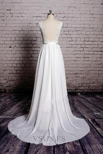 Vestido de novia Playa Apliques Sin mangas Corte-A Escote en V Encaje - Página 2