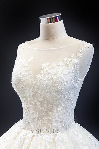 Vestido de novia Iglesia Drapeado Natural Cola Corte Corte-A Barco - Página 7
