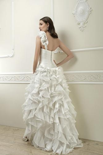 Vestido de novia Corte-A Cintura Baja Botón Satén Un sólo hombro Alto Bajo - Página 2