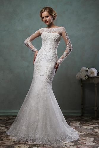 Vestido de novia Corte Sirena Natural Barco Apliques Otoño Alto cubierto - Página 1
