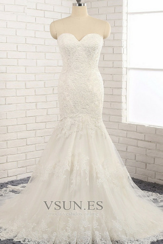 Vestido de novia Natural Apliques Capa de encaje Invierno tul Moderno - Página 1