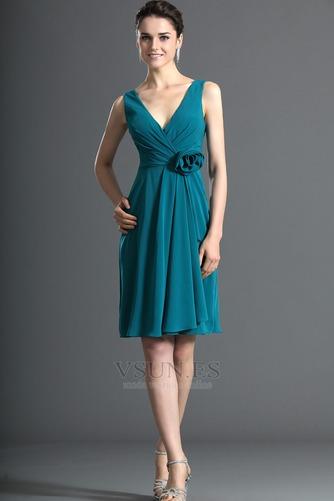 Vestido de dama de honor Sencillo Escote en V Flores Hasta la Rodilla Verano - Página 4