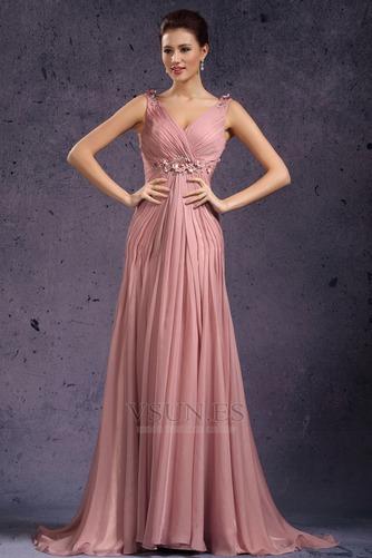 Vestido de noche Rosa Perla Cola Barriba Imperio Rosetón Acentuado Blusa plisada - Página 1