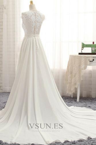 Vestido de novia primavera Apertura Frontal Natural Pura espalda Encaje - Página 2