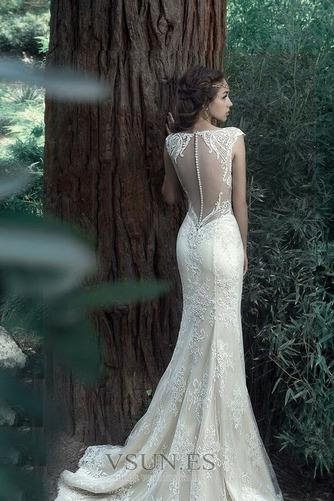 Vestido de novia Tallas pequeñas Pura espalda Sin mangas Natural Verano - Página 5