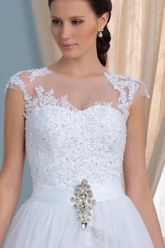 Vestido de novia Capa de encaje Falta Mangas Illusion Frontal Dividida - Página 4
