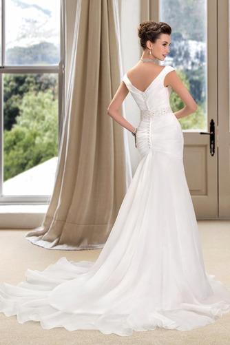 Vestido de novia Playa Cremallera Drapeado Pera Escote en V Corte Recto - Página 3
