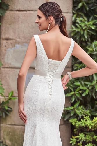 Vestido de novia Cordón Lazos Delgado Escote en V Natural Hasta el suelo - Página 5