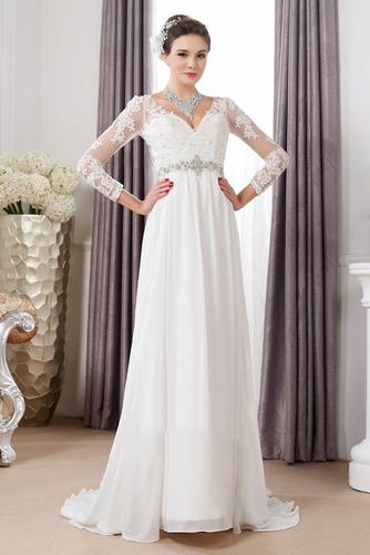 Vestido de novia Pura espalda Imperio Cintura Cinturón de cuentas largo - Página 1