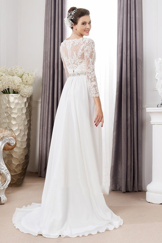 Vestido de novia Pura espalda Imperio Cintura Cinturón de cuentas largo - Página 2
