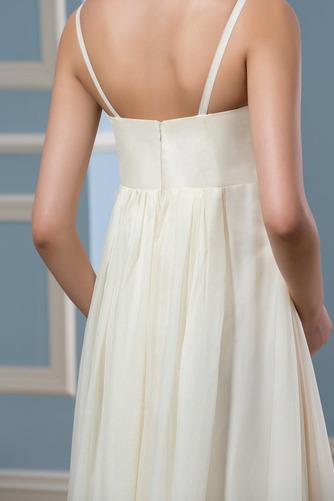 Vestido de novia Sencillo Dobladillos Verano Playa Imperio Cintura Cola Capilla - Página 5
