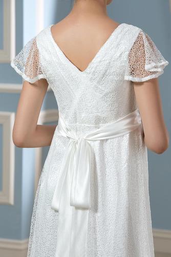 Vestido de novia Encaje Imperio Cintura Manga corta Cola Barriba Cremallera - Página 4