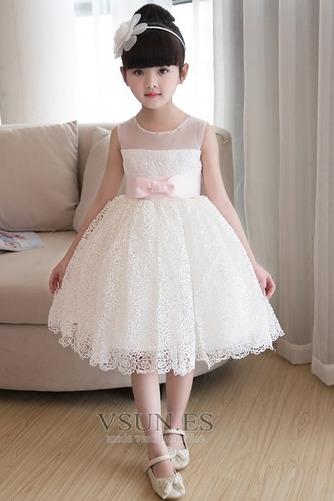 Vestido niña ceremonia Verano Fajas Encaje Natural Sin mangas Corte-A - Página 1
