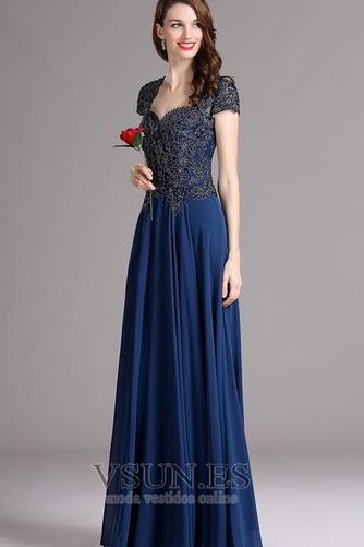 Vestido de noche Gasa Queen Anne Camiseta Natural Corte-A Corpiño Acentuado con Perla - Página 3