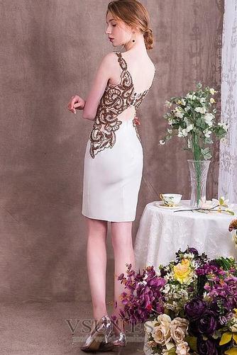 Vestido de cóctel Natural Satén Falta Corpiño Acentuado con Perla Sin mangas - Página 2