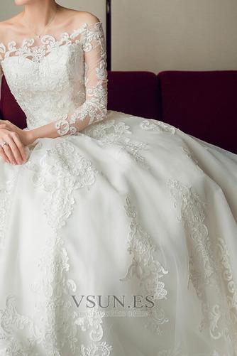 Vestido de novia Escote con Hombros caídos Corte-A Verano Encaje Manga larga - Página 2