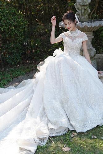 Vestido de novia Invierno Iglesia Formal Manga corta Corpiño Acentuado con Perla - Página 5