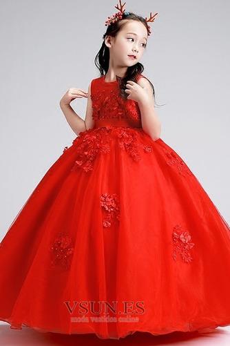 Vestido niña ceremonia Otoño Natural Joya Apliques Arco Acentuado Hasta el Tobillo - Página 3