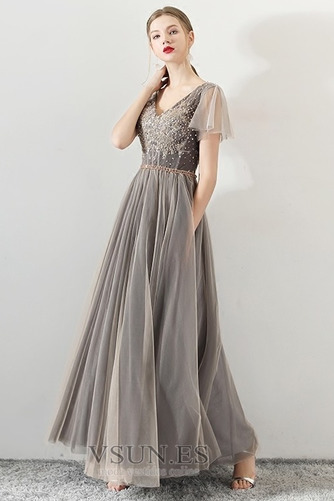 Vestido de fiesta Elegante Corte-A Natural Cordón tul Reloj de Arena - Página 1
