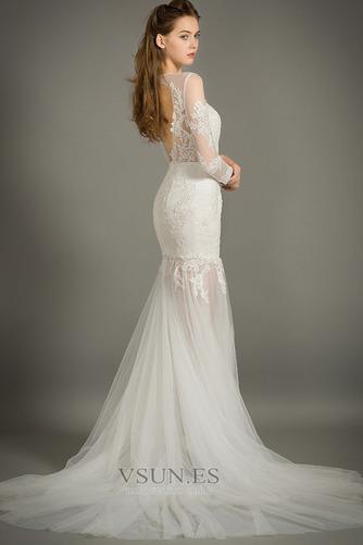 Vestido de novia Natural Abalorio Joya Capa de encaje Cremallera Camiseta - Página 5