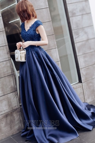 Vestido de fiesta Satén Natural Manzana Corte-A Abalorio primavera - Página 3