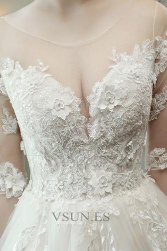 Vestido de novia Encaje Invierno Cordón Formal Triángulo Invertido La mitad de manga - Página 3