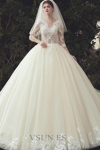 Vestido de novia Pura espalda Capa de encaje Cola Catedral Elegante - Página 3