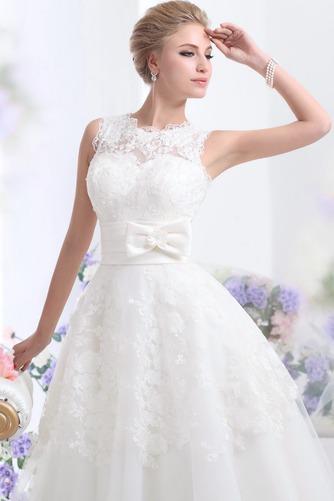 Vestido de novia Hasta el Tobillo Lazos tul Espalda medio descubierto - Página 5